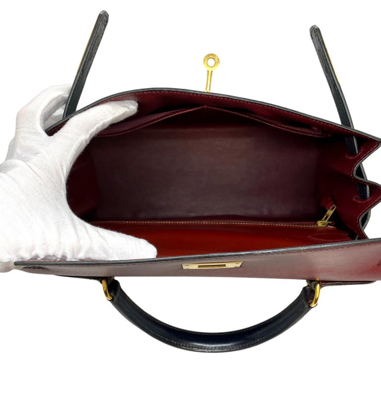 Hermès Limited Edition Vintage Tri-Color Box Calf Kelly Handbag 28, 1993. For Sale 2