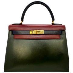 Hermès Limited Edition Vintage Tri-Color Box Calf Kelly Handbag 28, 1993.
