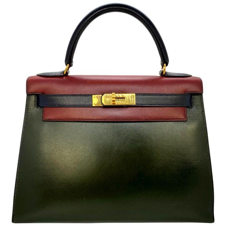 Hermès Limited Edition Vintage Tri-Color Box Calf Kelly Handbag 28, 1993. For Sale