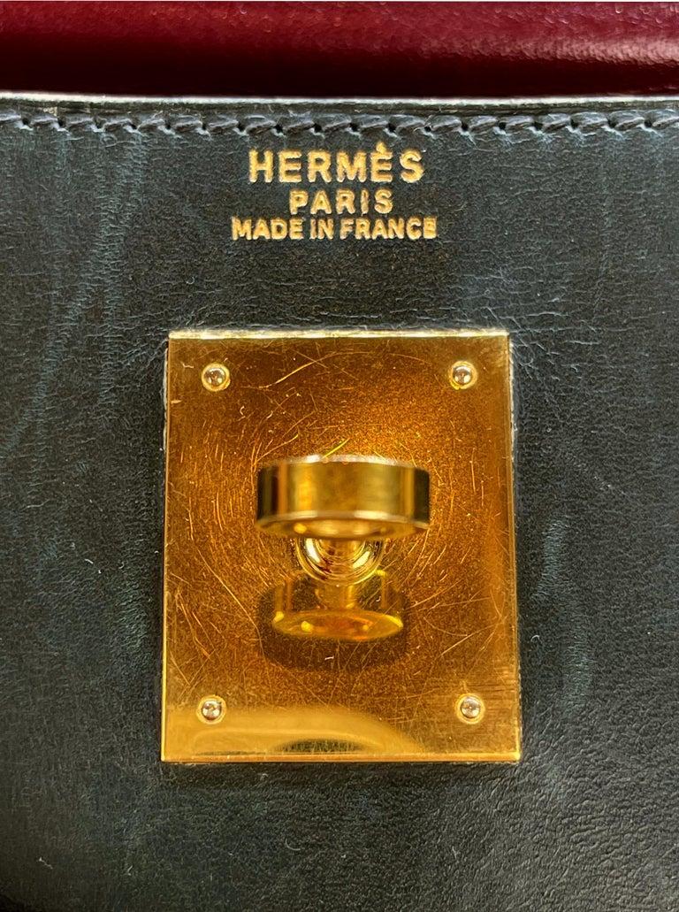 Hermès Limited Edition Vintage Tri-Color Box Calf Kelly Handbag 32, 1991. For Sale 5