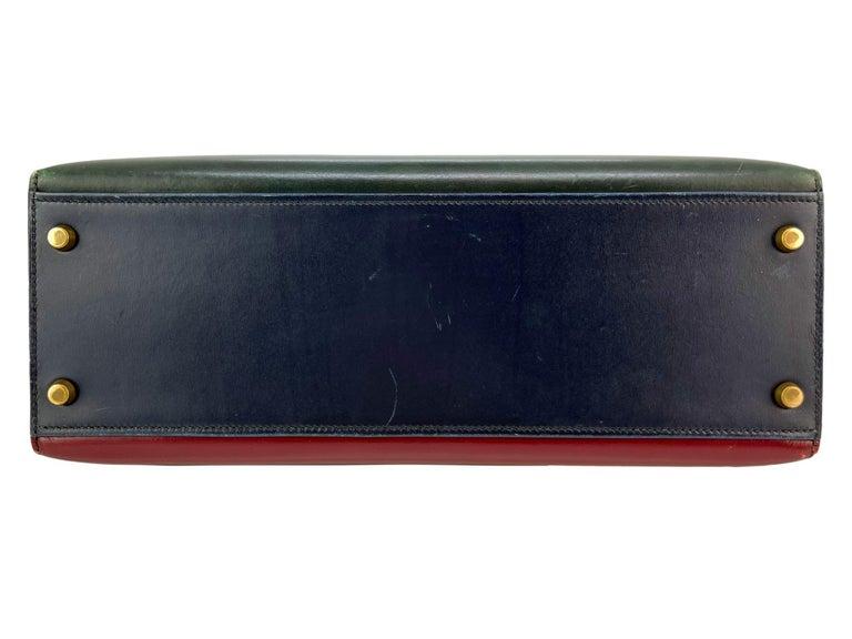 Hermès Limited Edition Vintage Tri-Color Box Calf Kelly Handbag 32, 1991. For Sale 6