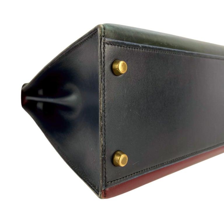Hermès Limited Edition Vintage Tri-Color Box Calf Kelly Handbag 32, 1991. For Sale 7