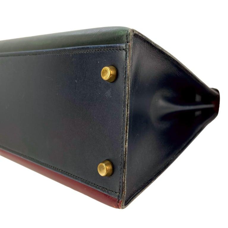 Hermès Limited Edition Vintage Tri-Color Box Calf Kelly Handbag 32, 1991. For Sale 8