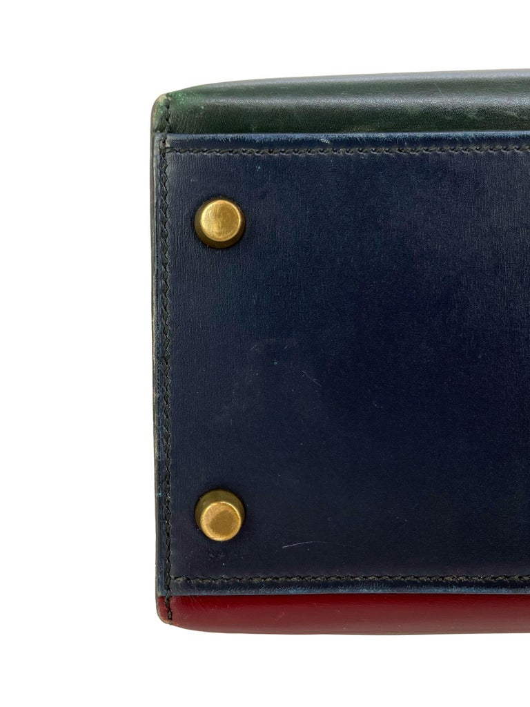 Hermès Limited Edition Vintage Tri-Color Box Calf Kelly Handbag 32, 1991. For Sale 9