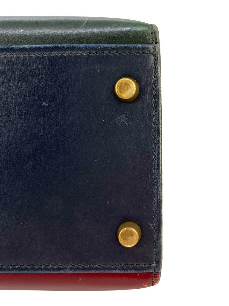 Hermès Limited Edition Vintage Tri-Color Box Calf Kelly Handbag 32, 1991. For Sale 10