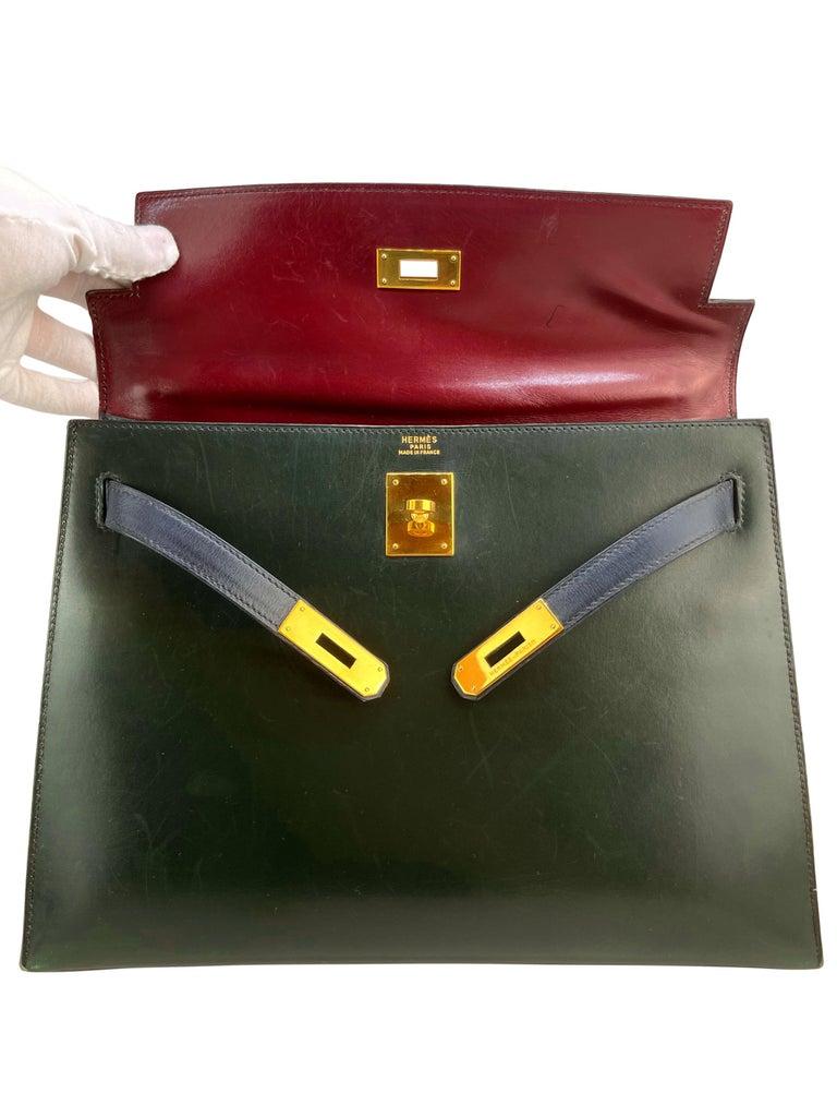 Hermès Limited Edition Vintage Tri-Color Box Calf Kelly Handbag 32, 1991. For Sale 11