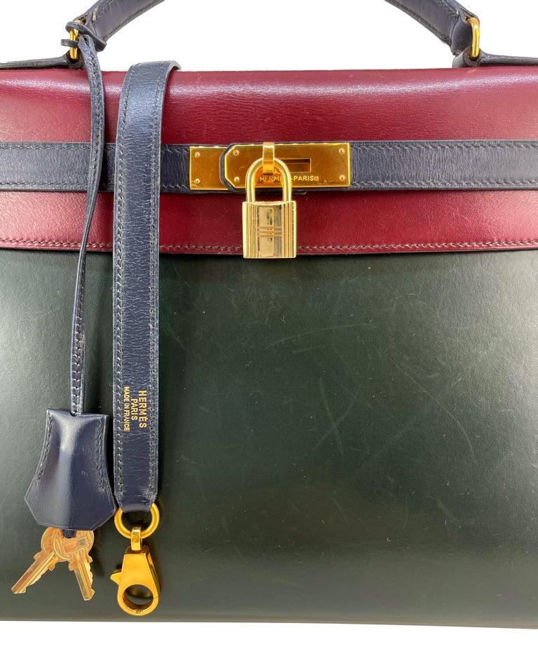Hermès Limited Edition Vintage Tri-Color Box Calf Kelly Handbag 32, 1991. For Sale 12