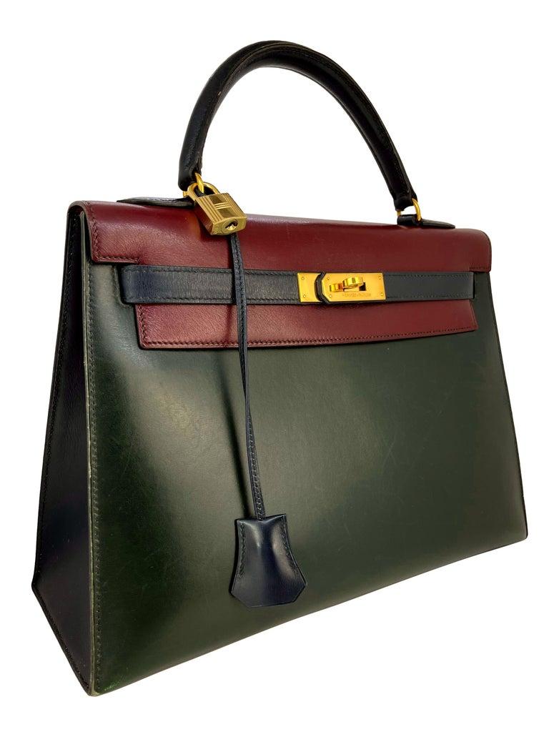Black Hermès Limited Edition Vintage Tri-Color Box Calf Kelly Handbag 32, 1991. For Sale