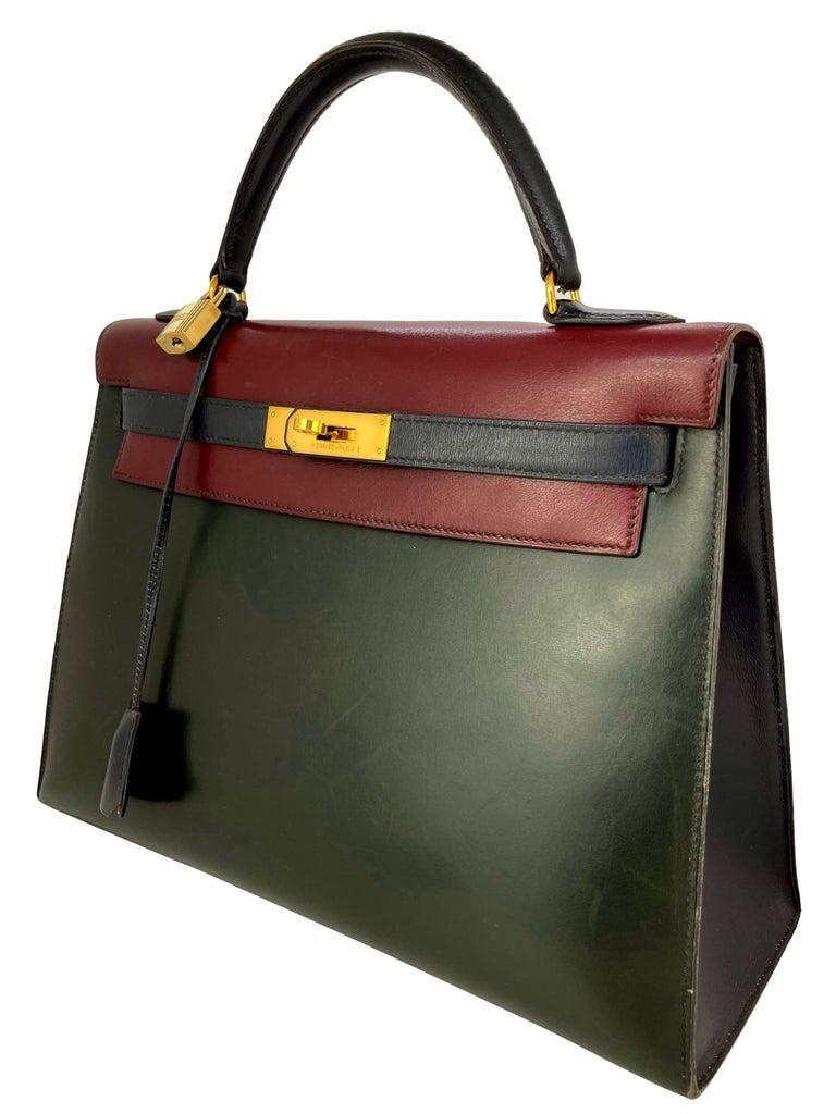 Hermès Limited Edition Vintage Tri-Color Box Calf Kelly Handbag 32, 1991. In Good Condition For Sale In Banner Elk, NC