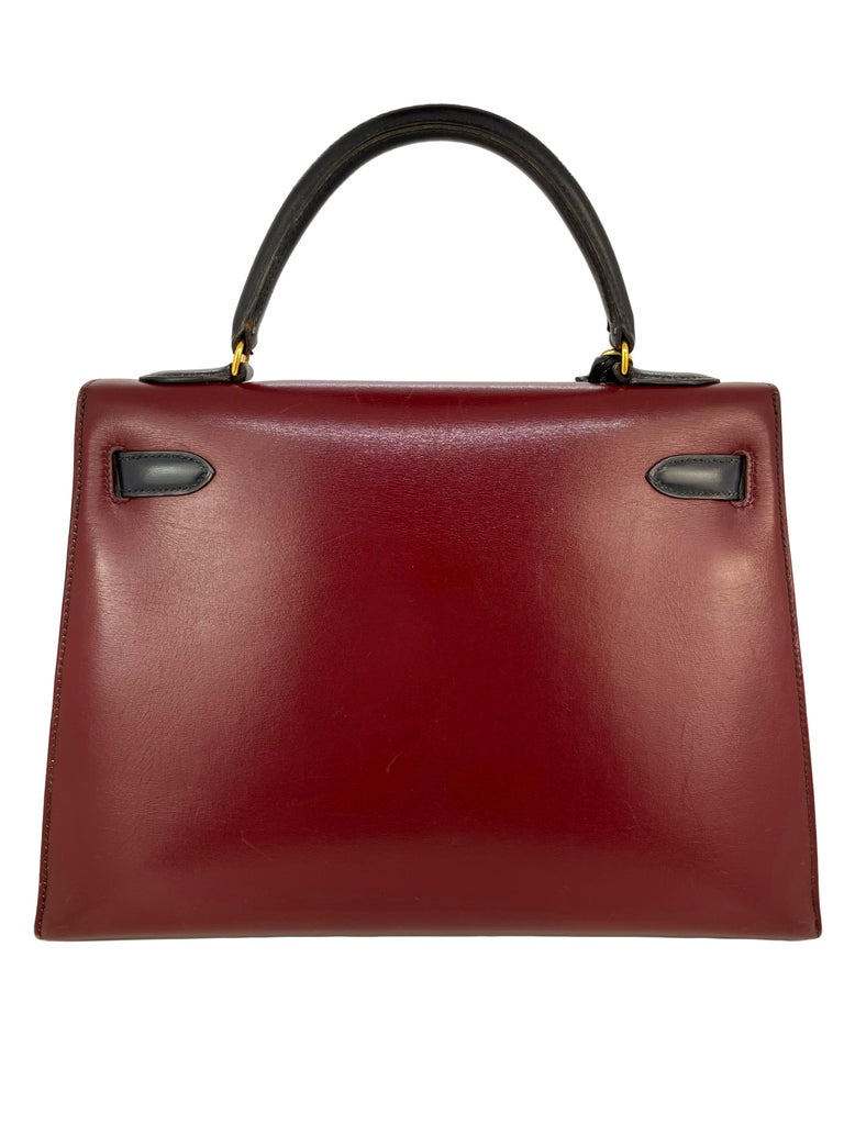 Hermès Limited Edition Vintage Tri-Color Box Calf Kelly Handbag 32, 1991. For Sale 2