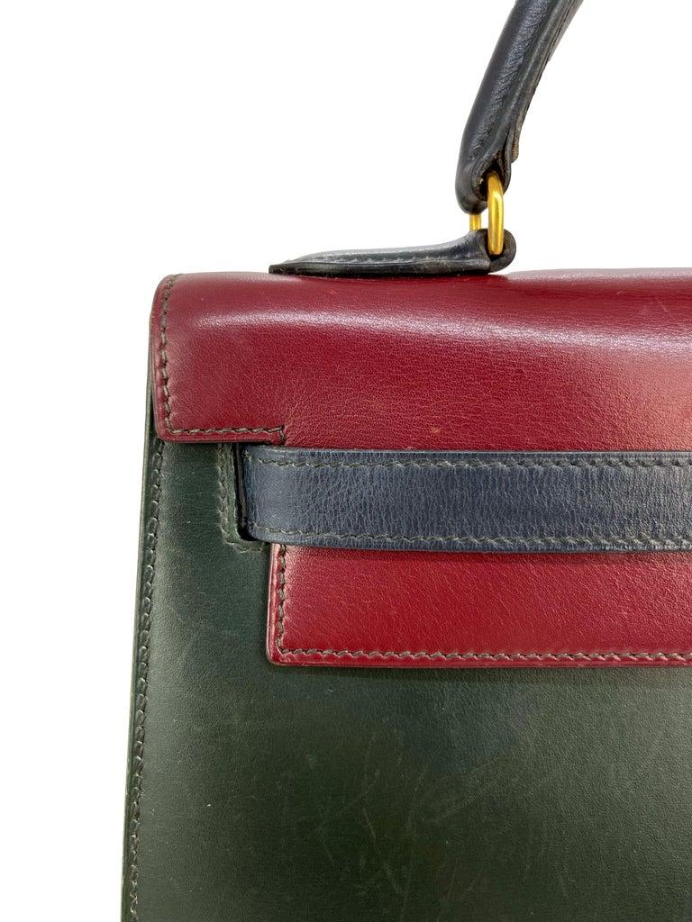 Hermès Limited Edition Vintage Tri-Color Box Calf Kelly Handbag 32, 1991. For Sale 3