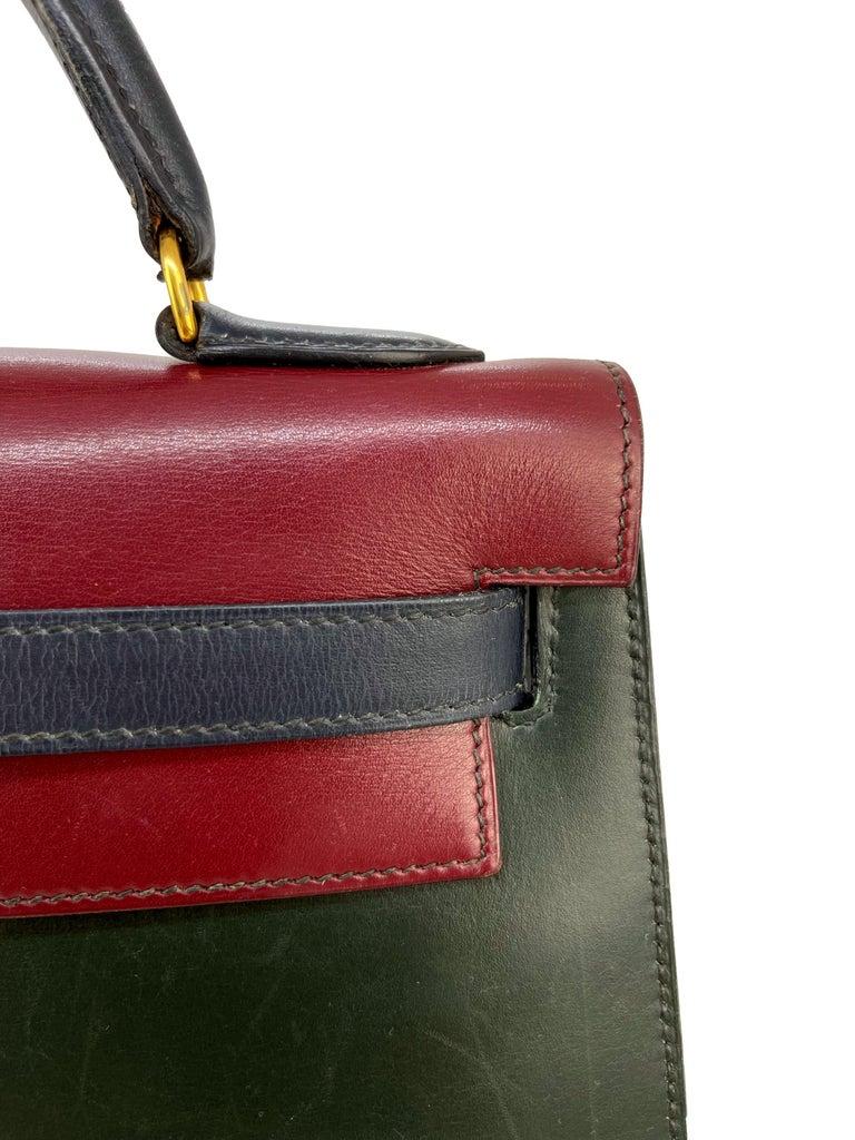 Hermès Limited Edition Vintage Tri-Color Box Calf Kelly Handbag 32, 1991. For Sale 4