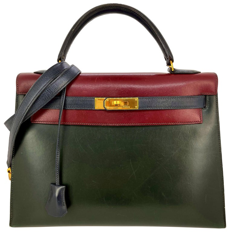 Hermès Limited Edition Vintage Tri-Color Box Calf Kelly Handbag 32, 1991. For Sale