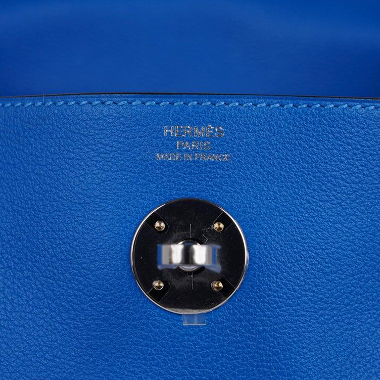 Women's Hermes Lindy 26 Bag Beautiful Blue Hydra Evercolor Leather Palladium For Sale