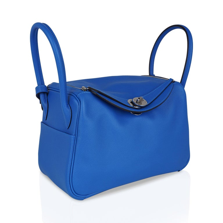 Hermes Lindy 26 Bag Beautiful Blue Hydra Evercolor Leather Palladium For Sale 2