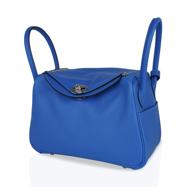 Hermes Lindy 26 Bag Beautiful Blue Hydra Evercolor Leather Palladium For Sale 4