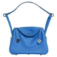 Hermes Lindy 26 Bag Beautiful Blue Hydra Evercolor Leather Palladium