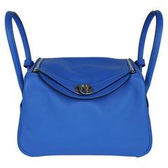 Hermes Lindy 26 Bag Beautiful Blue Hydra Evercolor Leather Palladium