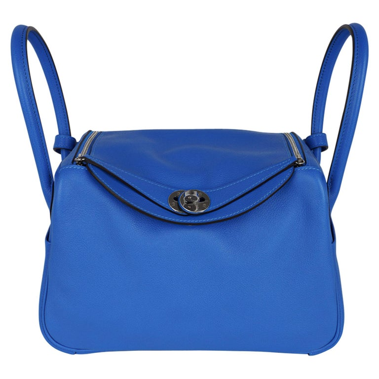 Hermes Lindy 26 Bag Beautiful Blue Hydra Evercolor Leather Palladium For Sale