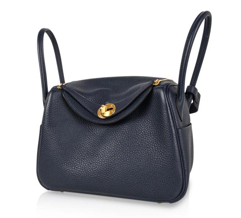 Hermes Lindy 26 Bag Blue Nuit Clemence Gold Hardware For Sale 1