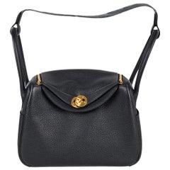 Hermes Lindy 26 Bag Blue Nuit Clemence Gold Hardware