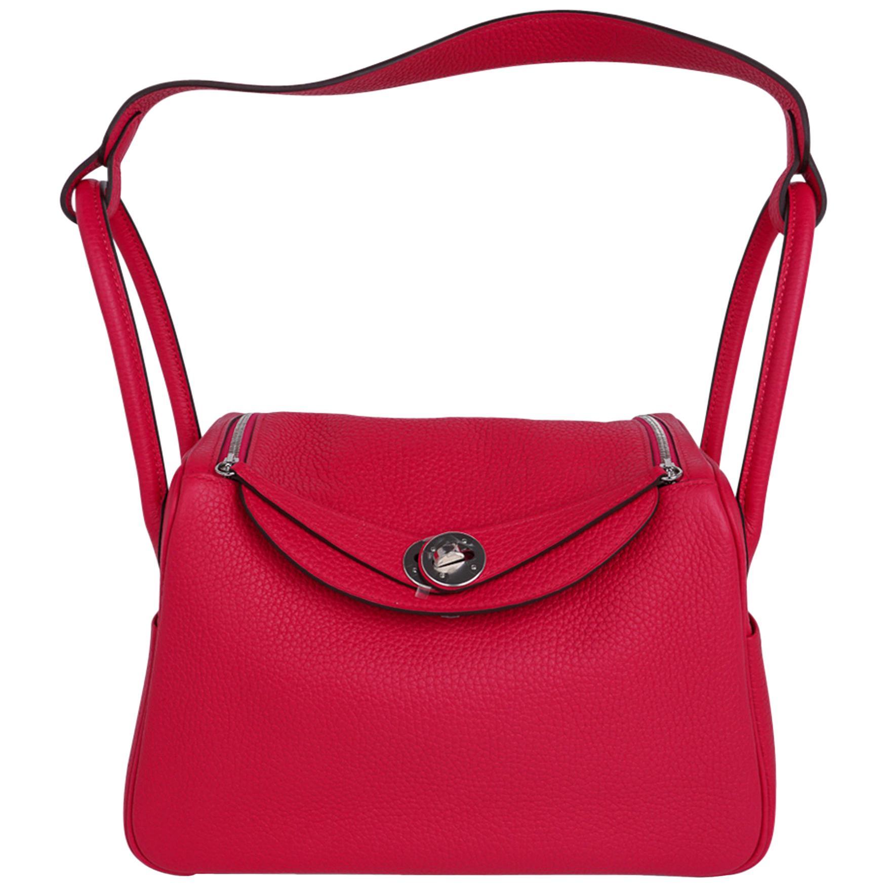 Hermes Lindy 26 Bag Rose Extreme Clemence Palladium Hardware