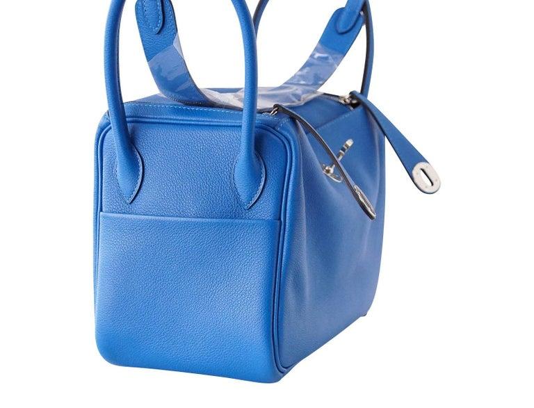 e466f56724c2 Guaranteed authentic rare Hermes 26 Lindy in vivid Blue Hydra Evercolour  leather. Palladium hardware.