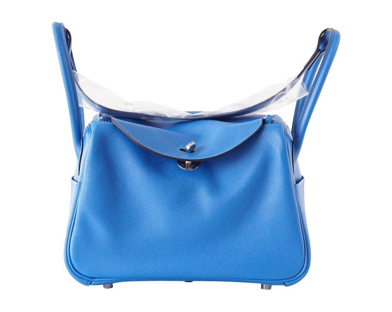 9bf3c300383c Hermes Lindy 26 Beautiful Blue Hydra Evercolor Leather Palladium For Sale 3