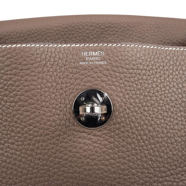 Women's Hermes Lindy 30 Bag Coveted eToupe Clemence Palladium For Sale