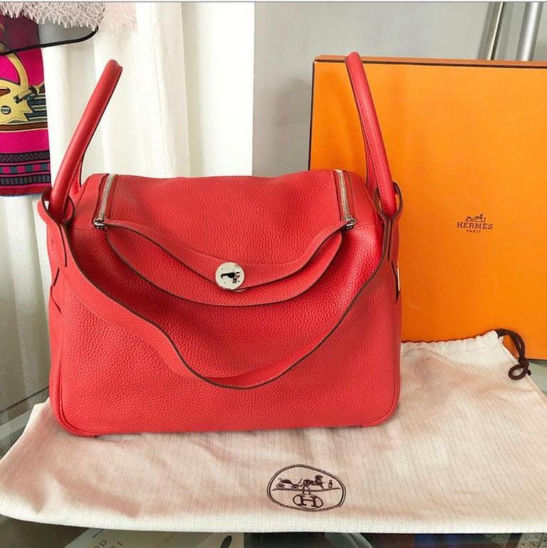 77c39bc8 Hermes Lindy 34 Shoulder Bag in Taurillon Clemence Rouge Pivoine