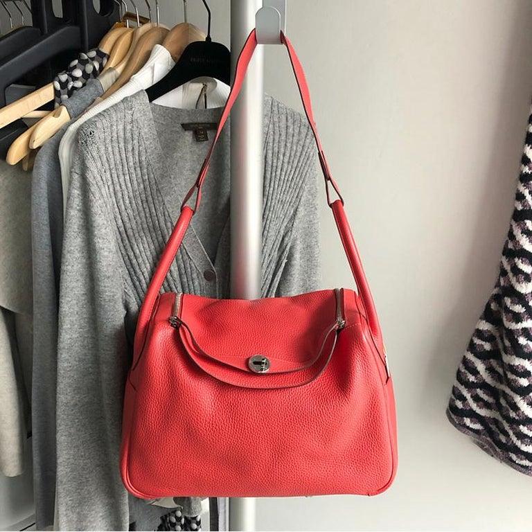 Red Hermes Lindy 34 Shoulder Bag in Taurillon Clemence Rouge Pivoine For Sale
