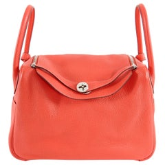 Hermes Lindy 34 Shoulder Bag in Taurillon Clemence Rouge Pivoine