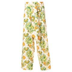 Hermes Linen Printed High Waist Floral Pant
