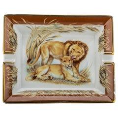 Hermès Lions Brown Porcelain Ashtray