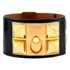 Hermes Lizard Black Leather Cuff Bracelet