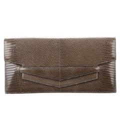 Hermes Lizard Exotic Leather Envelope Evening Clutch Flap Bag