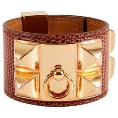 HERMES Lizard Medor Collier de Chien Pink Gold Cuff Bracelet