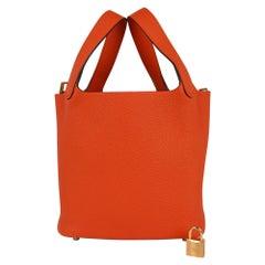 Hermes Lock 18 Bag Feu Gold Hardware Clemence Leather