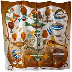 "HERMÈS Loïc Dubigeon design ""Les Foiles du Ciel"" Bronze Balloon Print Silk Scarf"