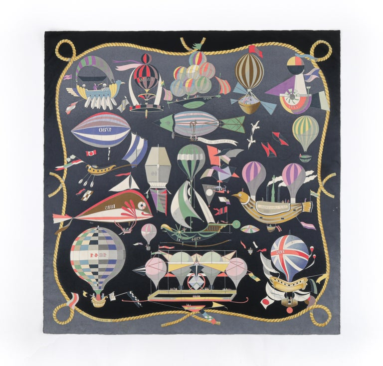 """HERMES Loïc Dubigeon """"Les Folies Du Ciel"""" Air Balloon Flying Machine Silk Scarf   Brand/Manufacturer: Hermes Designer: Loic Dubigeon  Style: Square scarf Color(s): Shades of blue, yellow, gray, pink, green, white, purple, red, beige, black Lined:"""