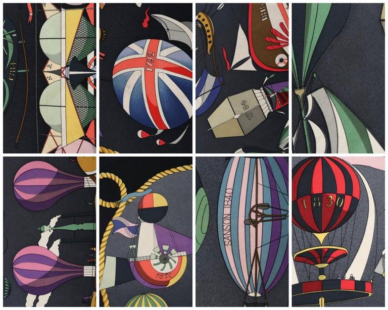 """HERMES Loïc Dubigeon """"Les Folies Du Ciel"""" Air Balloon Flying Machine Silk Scarf For Sale 2"""