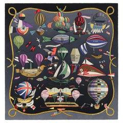 """HERMES Loïc Dubigeon """"Les Folies Du Ciel"""" Air Balloon Flying Machine Silk Scarf"""