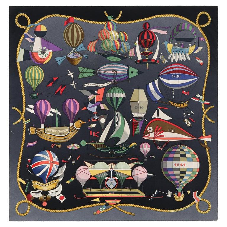 """HERMES Loïc Dubigeon """"Les Folies Du Ciel"""" Air Balloon Flying Machine Silk Scarf For Sale"""