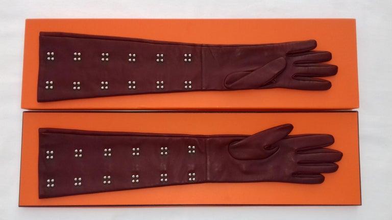 Black Hermès Long Opera Gloves Burgundy Lambskin Leather Size 6.5 in Box For Sale