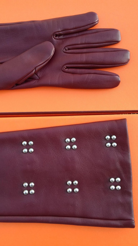 Women's Hermès Long Opera Gloves Burgundy Lambskin Leather Size 6.5 in Box For Sale