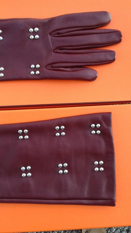 Hermès Long Opera Gloves Burgundy Lambskin Leather Size 6.5 in Box For Sale 2