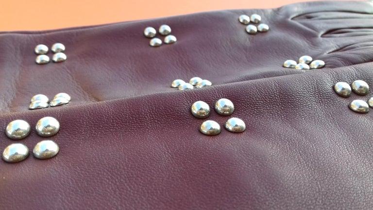 Hermès Long Opera Gloves Burgundy Lambskin Leather Size 6.5 in Box For Sale 3