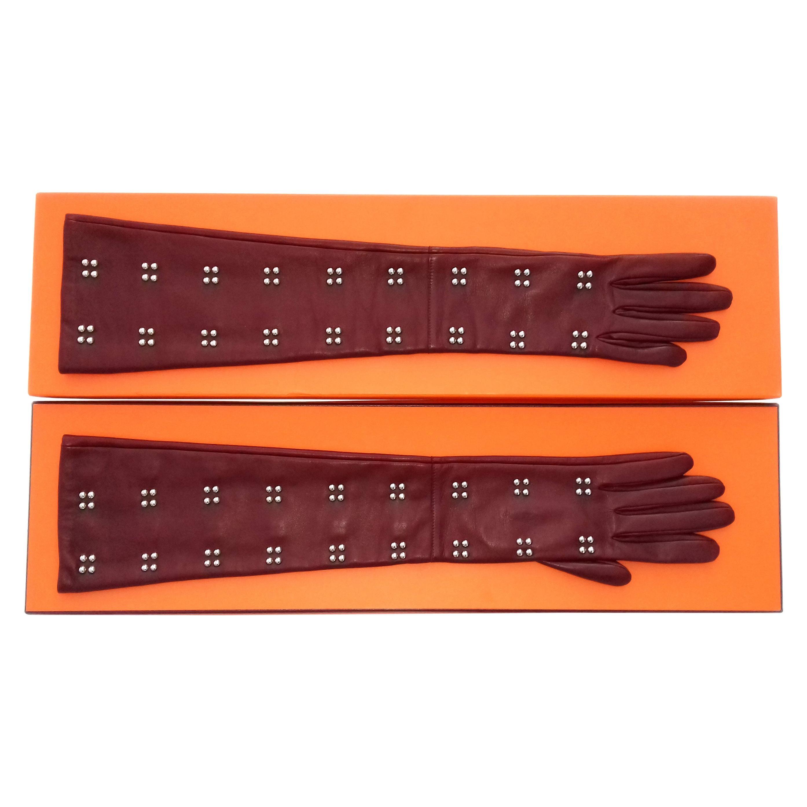 Hermès Long Opera Gloves Burgundy Lambskin Leather Size 6.5 in Box
