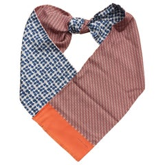 Hermès Long Silk Scarf Double-Sided Chaine d'Ancre and Cubes Orange Blue