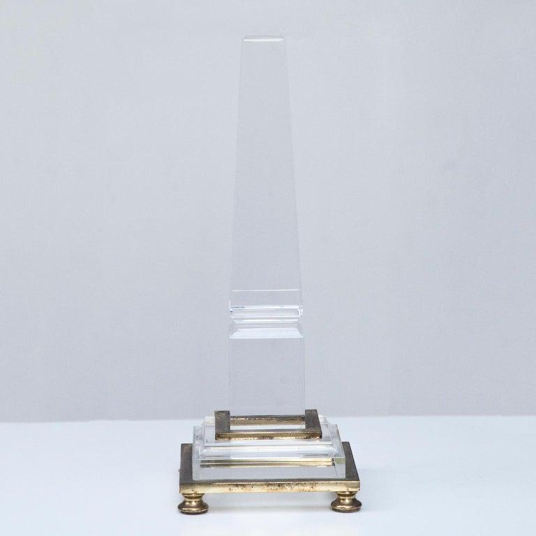 Hollywood Regency Hermes Lucite Obelisk Desk Accessory, 1970 For Sale